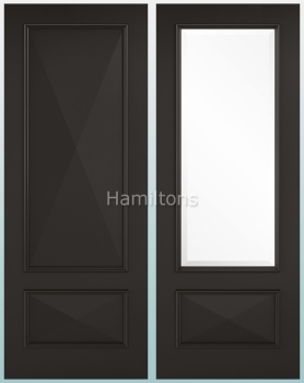 LPD Knightsbridge Black Solid Panel And Clear Bevelled Glazed Doors