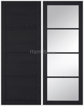 LPD Soho Dark Charcoal Industrial Style Solid Panel And Glazed Doors