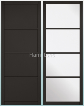 LPD Black Soho Industrial Style Solid Panel And Glazed Doors