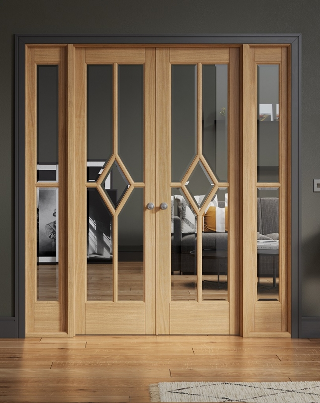 LPD Reims Oak W6 French Doors With Demi sidelights and Frame