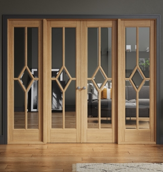 LPD Reims Oak W8 French Doors With Sidelights and Frame