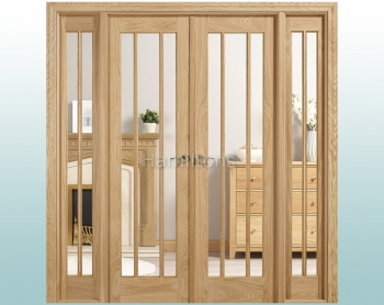 LPD Lincoln Oak W6 French Doors With Demi Sidelights and Frame
