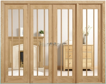 LPD Lincoln Oak W8 French Doors With Sidelights and Frame