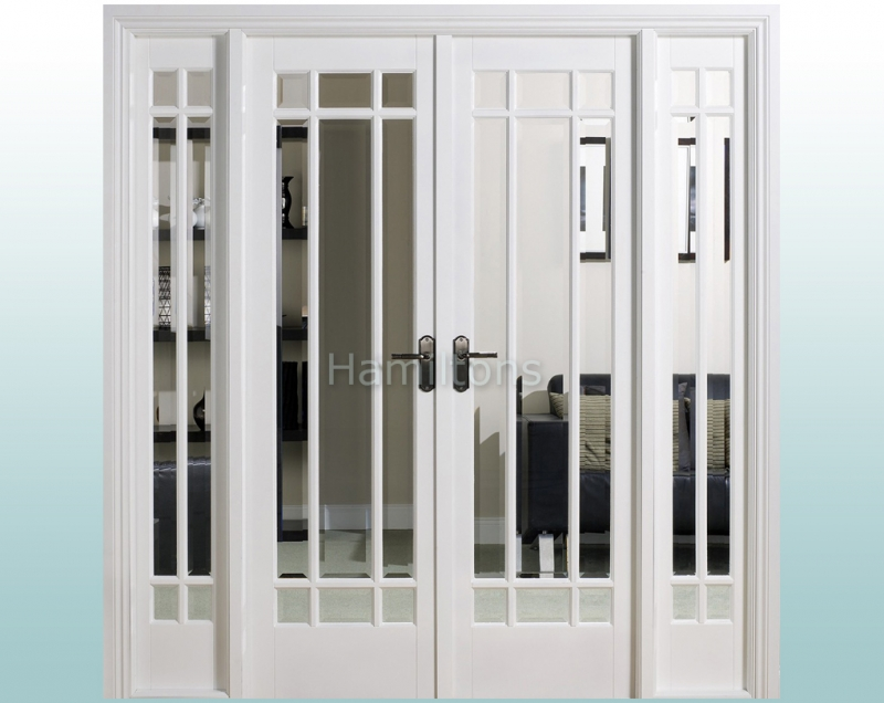LPD White Manhattan W6 French Door Pair With Demi Sidelights and Frame
