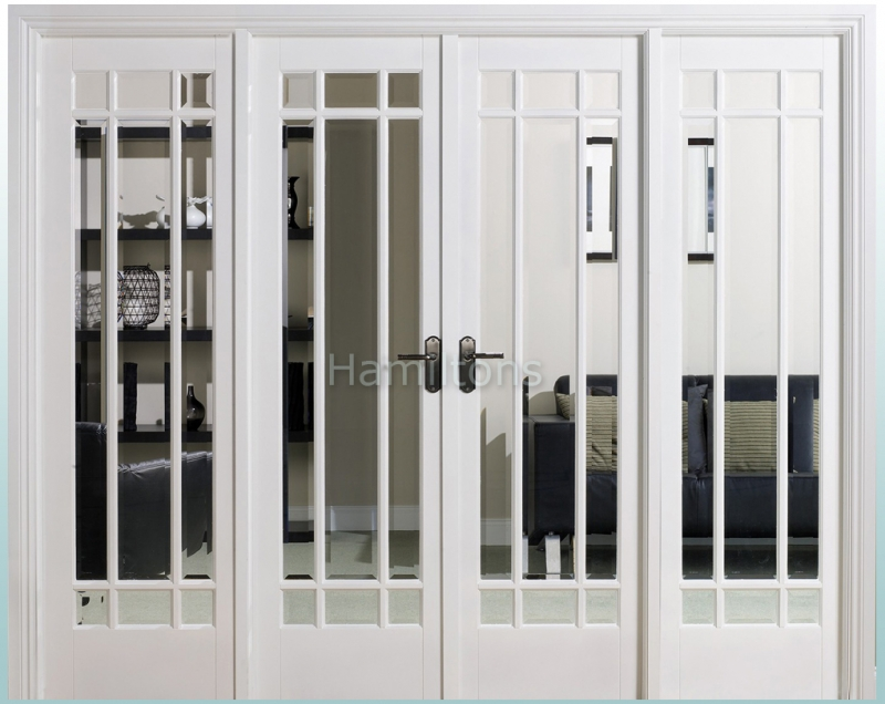 LPD White Manhattan W8 French Door Pair With Demi Sidelights and Frame