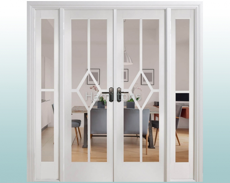 LPD White Reims W6 French Door Pairs With Demi Sidelights and Frame