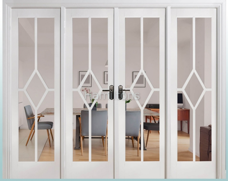 LPD White Reims W8 French Door Pairs With Demi Sidelights and Frame