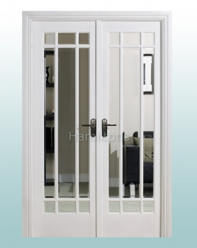 LPD White Manhattan W4 French Door Pair With Frame. Clear Bevel Glass