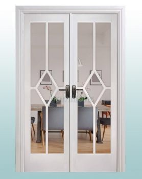 LPD White Reims W4 French Door Pair With Frame. Clear Bevel Glass
