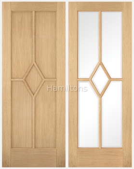 LPD Oak Riems Panel and Bevelled Glass Doors
