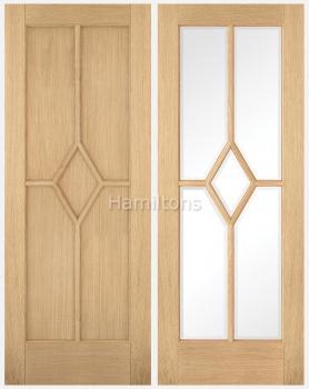 LPD Oak Reims Panel and Bevelled Glass Doors