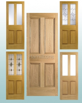 LPD Oak 4P Panel Doors And Malton Glazed Doors