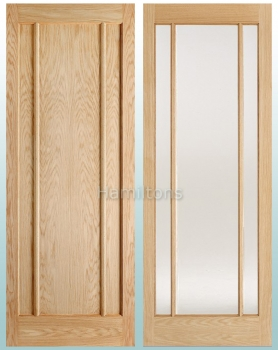 LPD Oak Lincoln Panelled, Clear and Frosted Glass Doors and Fire Doors