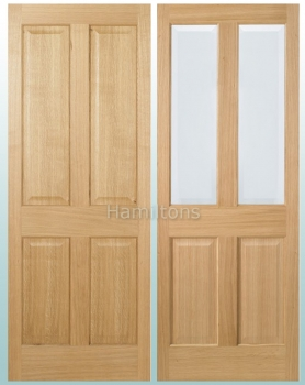 LPD Oak Regency 4 Panel and Richmond Bevel Glass Doors