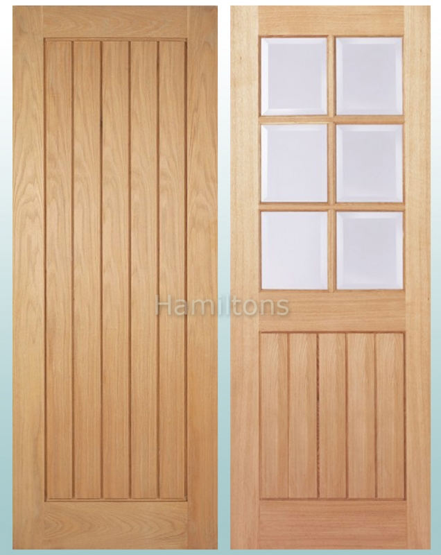 Lpd Oak Mexicano Panelled And Bevelled Glass Doors And Fire Doors