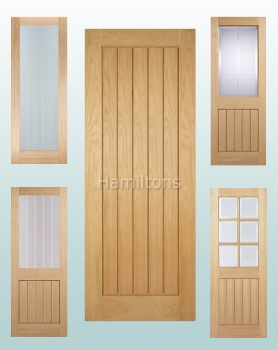 LPD Oak Original Mexicano Solid Panel And Glazed Doors