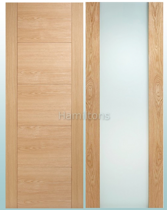 Lpd Modern Oak Toronto Frosted Glass Door And Matching Panelled