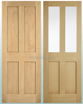 LPD Oak London Shaker Solid Panel and Glazed Doors