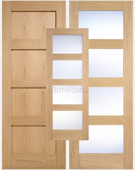 LPD Oak Shaker 4 Panel And 4 Light Clear Or Frosted Glass Doors