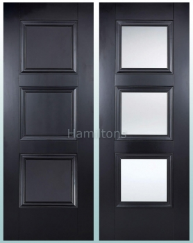 LPD Colours Amsterdam Black Panel and Clear Glass Doors and Fire Doors