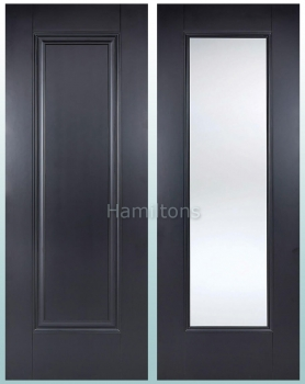 LPD Colours Eindhoven Black Panel and Clear Glass Doors and Fire Doors