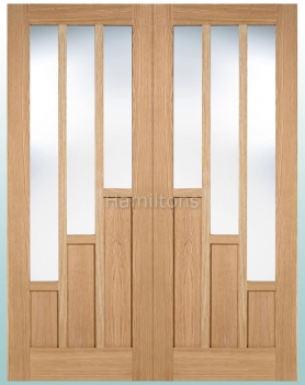 LPD Oak Coventry Rebated French Doors With Clear Glass