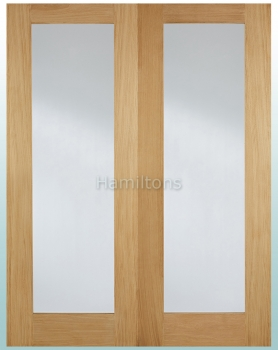 LPD Oak Pattern 20 Glazed Pairs Rebated French Doors