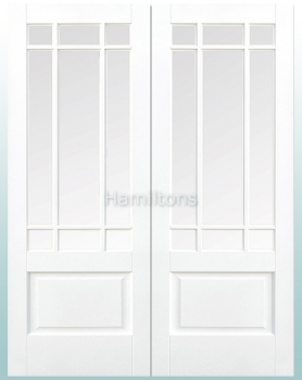 LPD White Downham Glazed Pairs Rebated French Doors Bevelled Glass