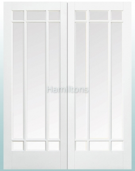 LPD Manhattan Glazed Pairs Rebated French Doors Bevelled Glass