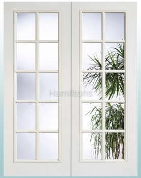 LPD White SA Glazed Pair Rebated French Doors