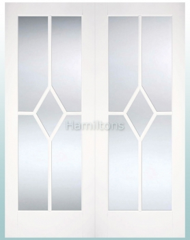 LPD White Reims Glazed Pairs Rebated French Doors Bevelled Glass