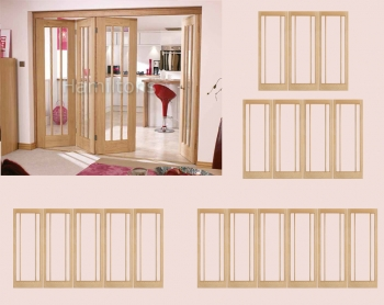 LPD Oak Roomfold System With Lincoln Folding Doors Clear Glass