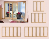 LPD Oak Pattern 10 Folding Doors And Frame Clear Glass