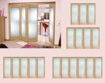 LPD Oak Roomfold System With Pattern 10 Folding Doors Obscure Glass