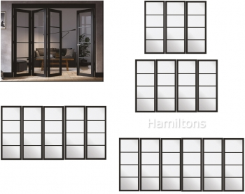 LPD Slimframe Black Soho Folding Door System Clear Glass