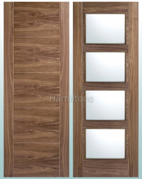 LPD Walnut Vancouver Solid Panel and Glazed Doors