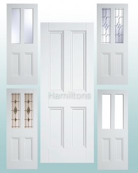 LPD Premium Solid White Nostalgia 4 Panel Doors and Malton Glazed Doors