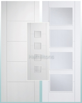 LPD White Vancouver Panel Doors Clear Glass And Frosted Glass Doors