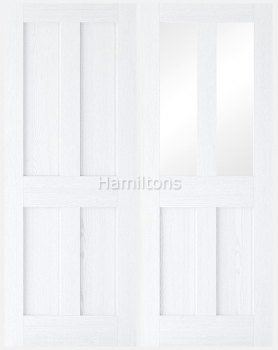 LPD Premium London White Grain Solid Panel and Clear Glazed Doors