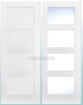 LPD Premium White Shaker 4 Panel and 4 Light Solid Panel Doors