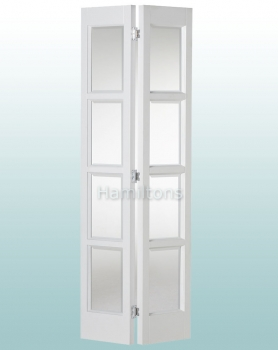 Woodland White Bardsley 4P Bevelled Glass Bi-folding Door Many Sizes