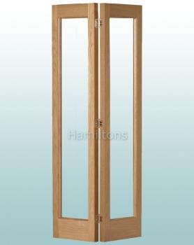Woodland Oak Marston Clear Glass Bi-folding Door Many Sizes Available
