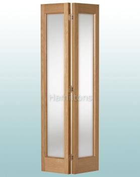 Woodland Oak Marston Frosted Glass Bi-folding Door Many Sizes