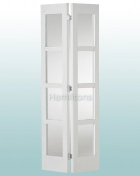Woodland White Shaker 4P Clear Glass Bi-folding Door Many Sizes