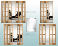 Slimfold Oak Bardsley Bevel Glass 3, 4, 5 and 6 Folding Doors