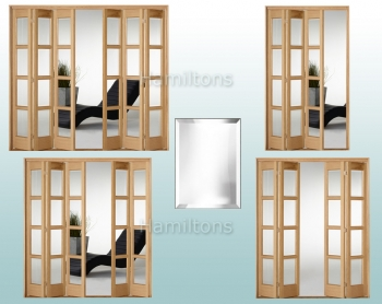 Slimfold Oak Bardsley Clear Bevel Glass 3, 4, 5 and 6 Folding Doors