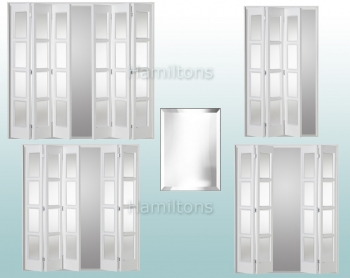 Slimfold White Bardsley Clear Bevel Glass 3, 4, 5 and 6 Folding Doors