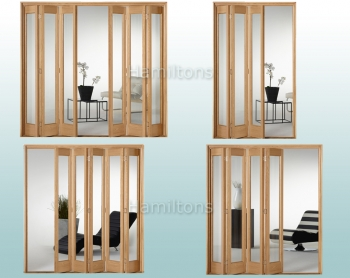 Slimfold Oak Marston Clear Glass 3, 4, 5 and 6 Folding Door System