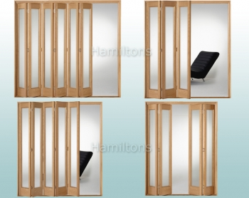 Slimfold Oak Marston Obscure Glass 3, 4, 5 and 6 Folding Door System