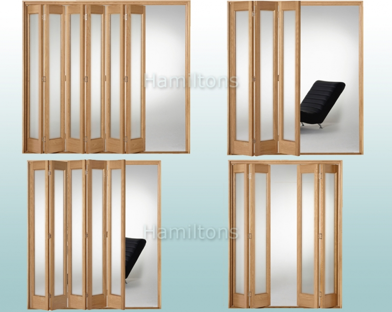 Slimfold Oak Marston Obscure Glass 3, 4, 5 and 6 Folding Door System ...